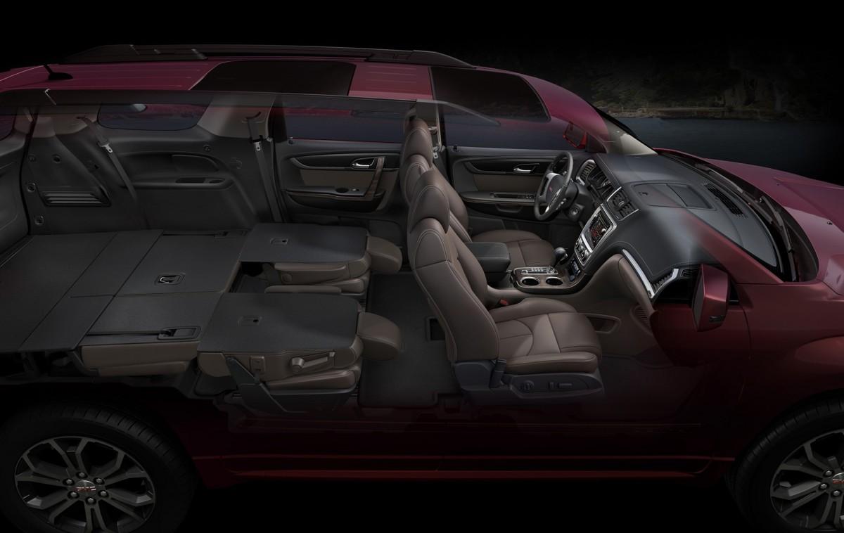 2016 GMC Acadia Interior Seating Down in Cocoa Dune © General Motors