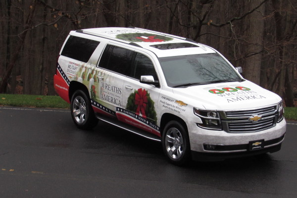 Decorated Chevrolet vehicles will lead the Wreaths Across America journey from Maine to Arlington National Cemetery in Washington, D.C. Pictured here: 2016 Chevrolet Silverado 1500 Crew Cab. © General Motors Company