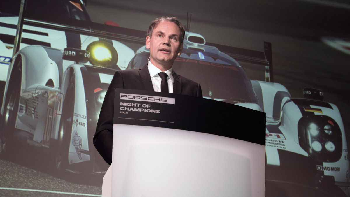 Dr Oliver Blume, Porsche CEO, Porsche Cup Ceremony, Night of Champions motorsport gala, Weissach © Dr. Ing. h.c. F. Porsche AG.