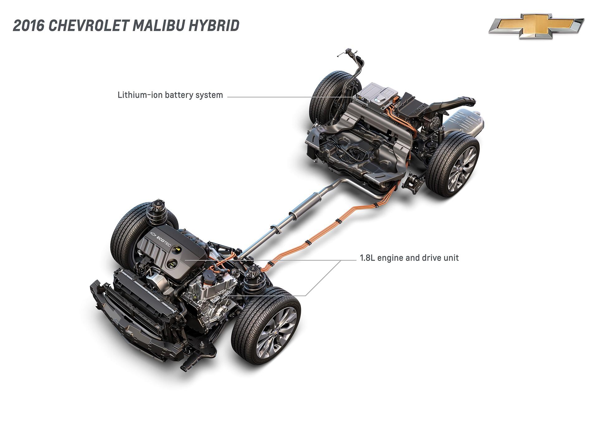 2016 Chevrolet Malibu Hybrid Lithium-Ion Battery System, 1.8L Engine and Drive Unit © General Motors