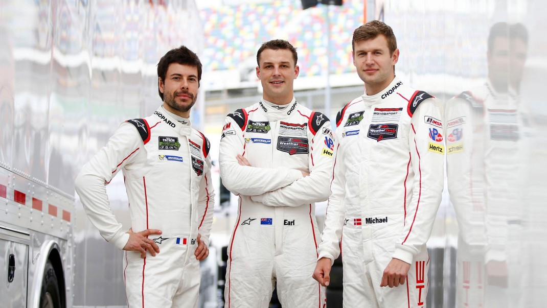 l-r Frederic Makowiecki, Earl Bamber, Michael Christensen, Daytona, IMSA WeatherTech SportsCar Championship © Dr. Ing. h.c. F. Porsche AG