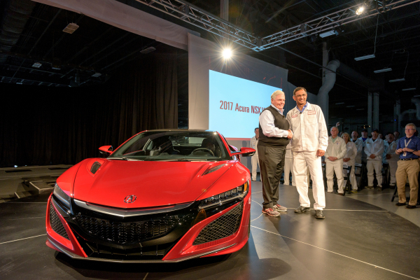 From left, Rick Hendrick, owner of Hendrick Motorsports and Hendrick Automotive Group, takes delivery of 2017 Acura NSX, VIN 001, from Acura NSX Engineering Large Project Leader Clement D'Souza © Honda Motor Co., Ltd.