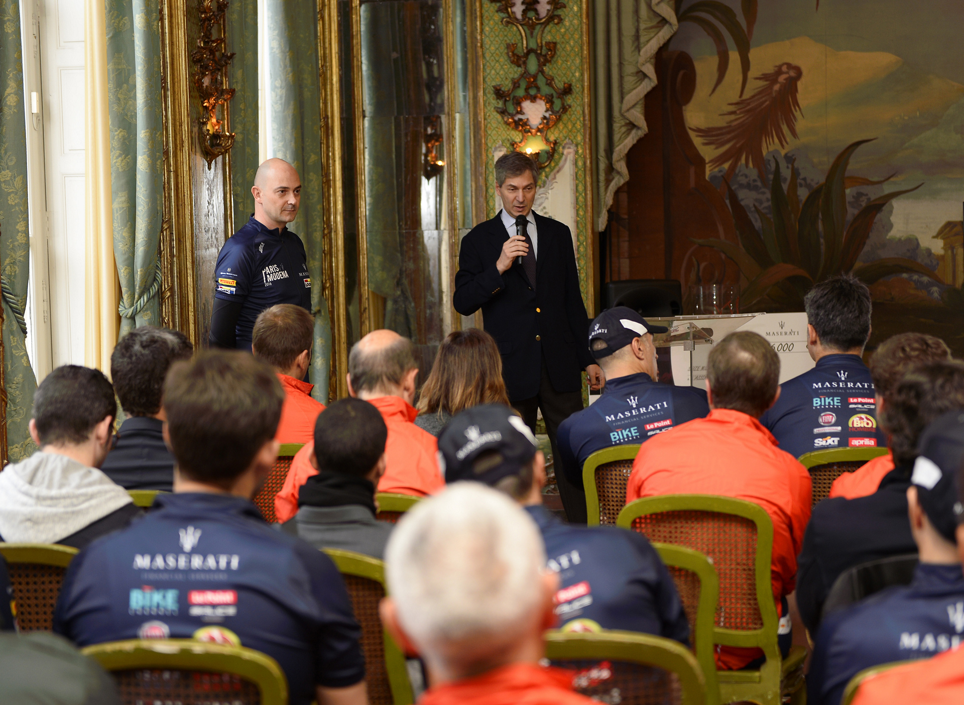 Press Conference before the start of the Paris Modena (in the picture from the left Guido Giovannelli, Head of Maserati West Europe and H.E. the Italian Ambassador in France Giandomenico Magliano) © Fiat Chrysler Automobiles N.V.