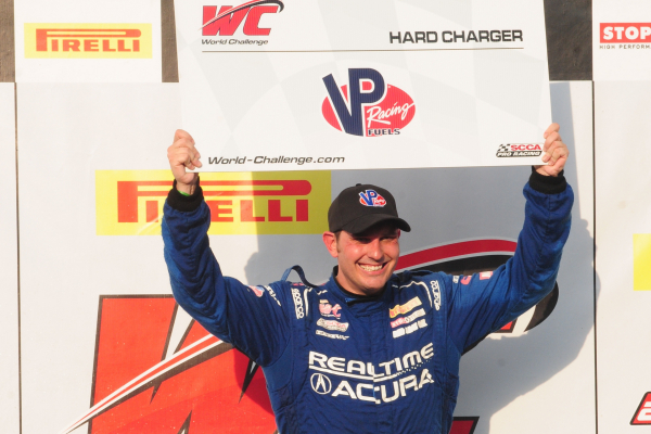 "Acura's Ryan Eversley finished fourth and won the ""Hard Charger"" award in Friday's Pirelli World Challenge race at Lime Rock Park © Honda Motor Co., Ltd."