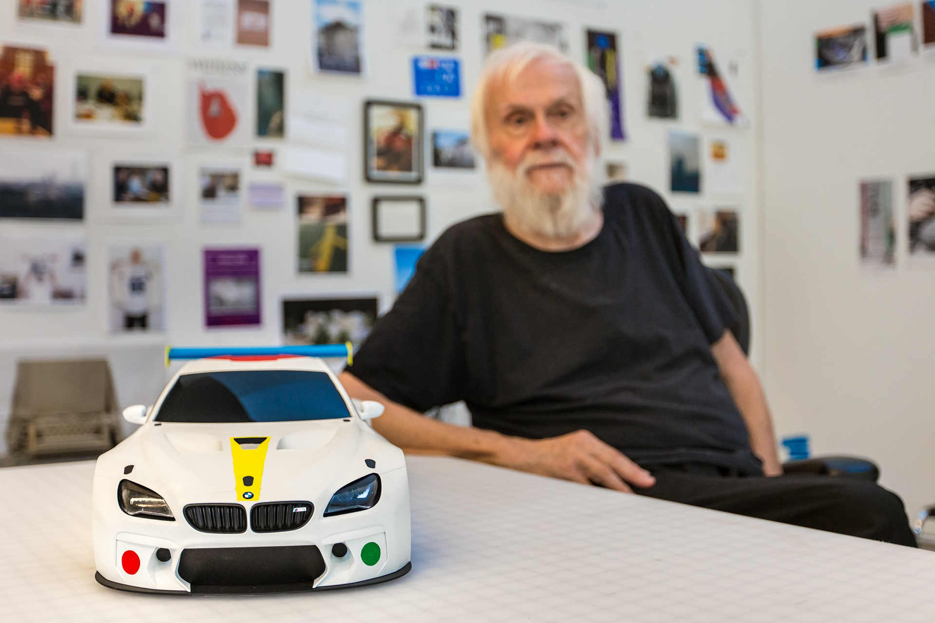 Contemporary American artist John Baldessari unveils the design study for 19th BMW Art Car at his California studio. The full-scale version of Baldessari's work will be unveiled at Art Basel Miami Beach © BMW AG