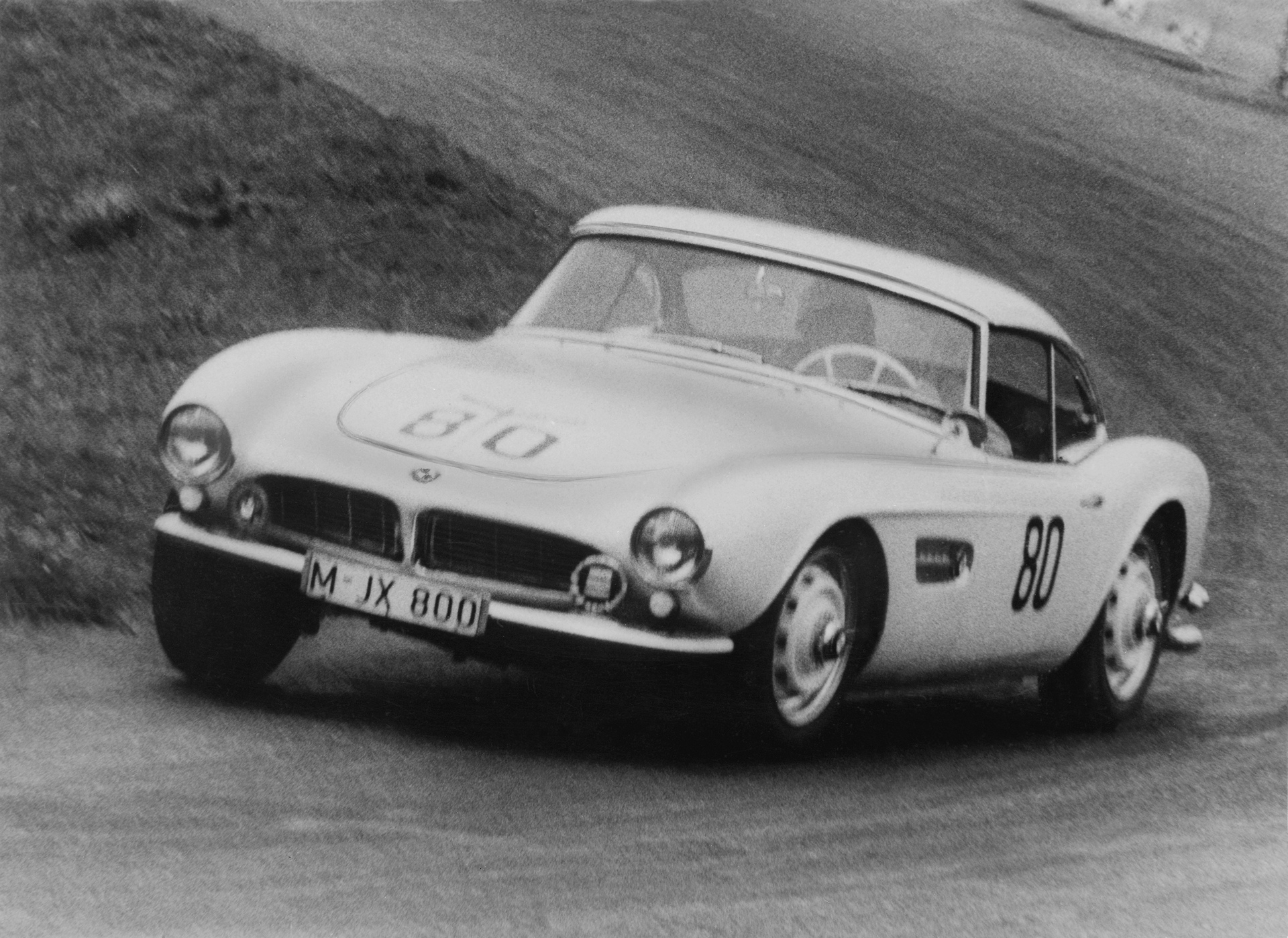 "Elvis` BMW 507. Hans Stuck achieves class win at the ""Grosser Bergpreis von Deutschland"" Hillclimb at Schauinsland near Freiburg in 1958 with the BMW 507, VIN 70079 © BMW AG"