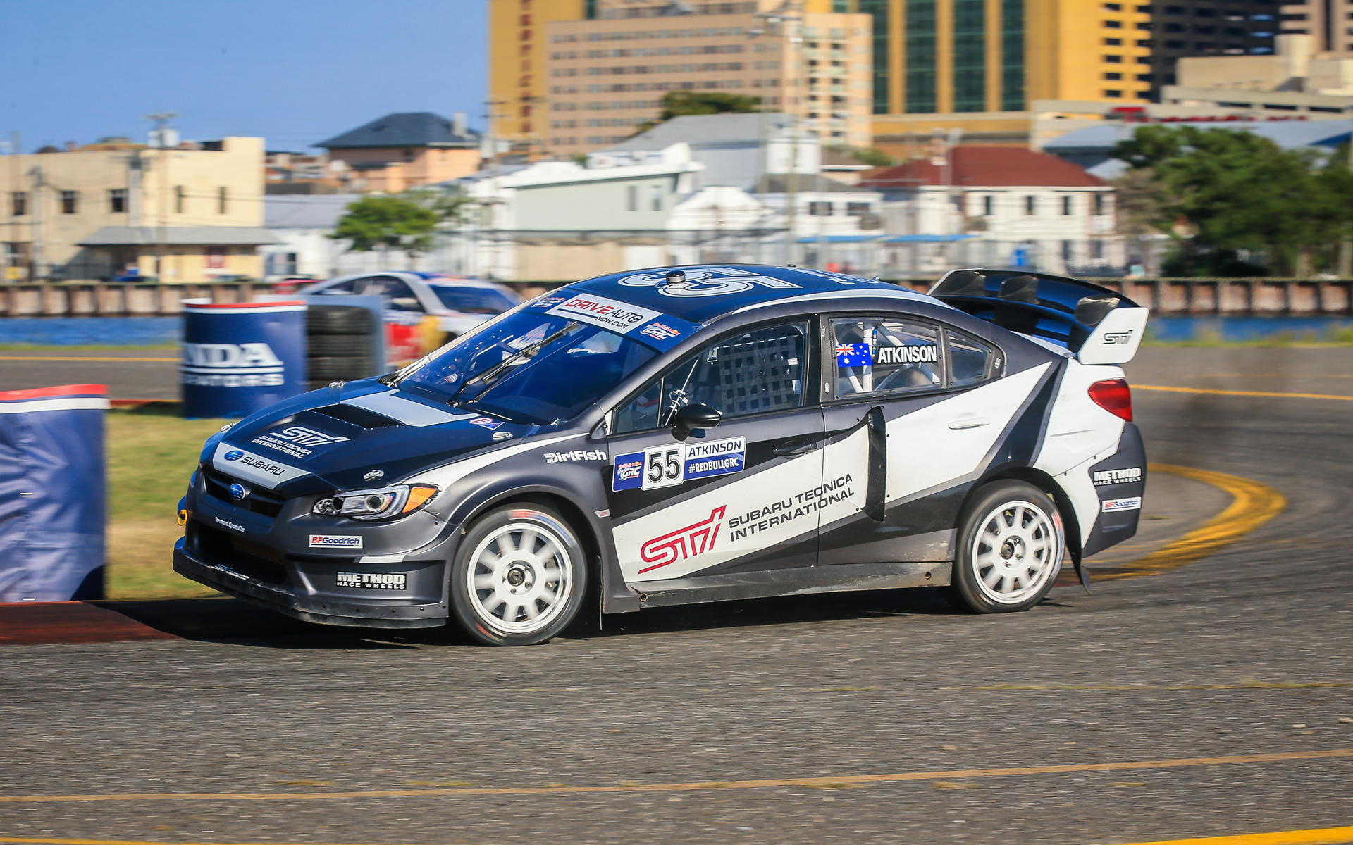 Chris Atkinson attacks a turn during his rallycross debut at GRC Atlantic City © Fuji Heavy Industries, Ltd.