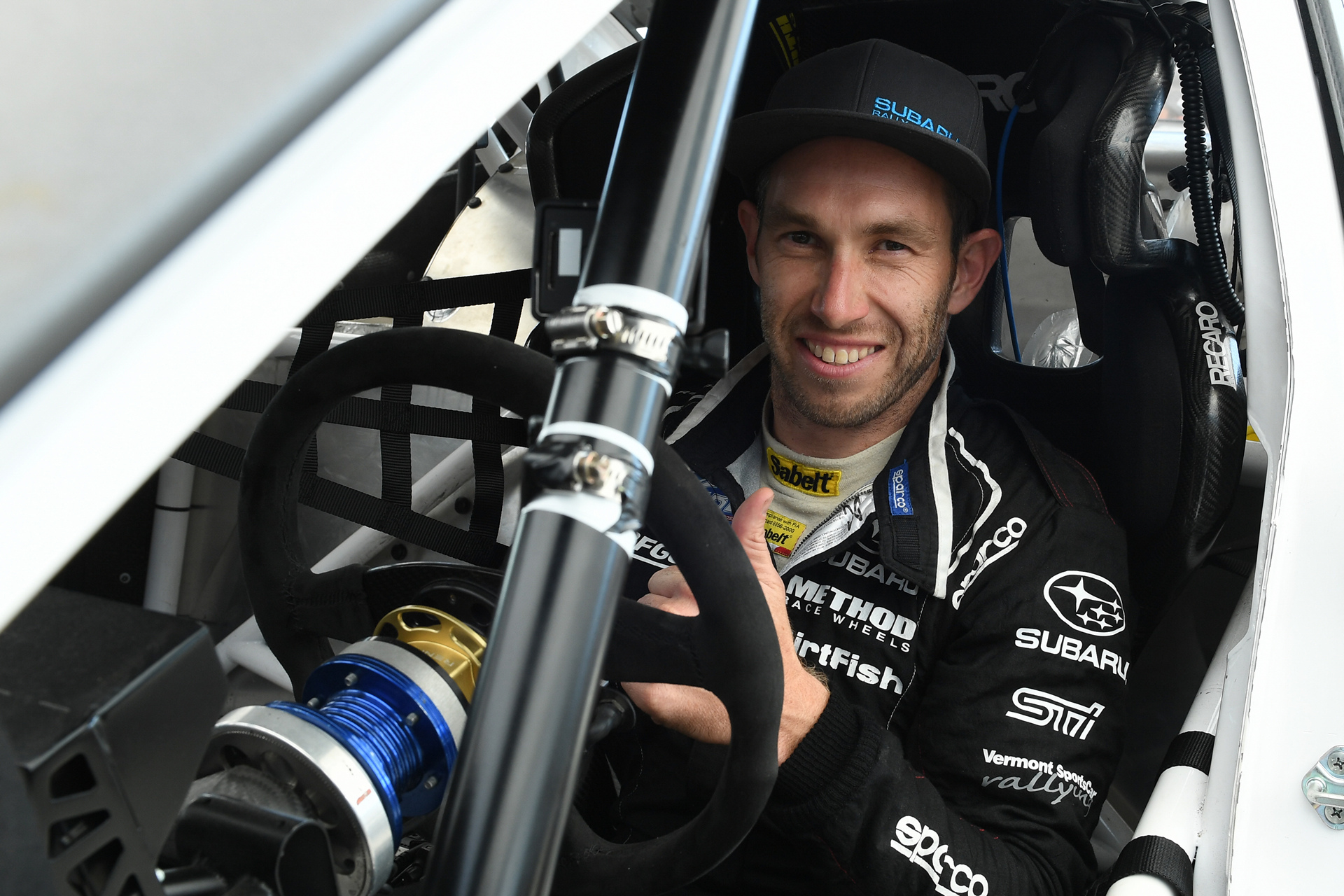 Chris Atkinson was all smiles in his GRC debut in August © Fuji Heavy Industries, Ltd.