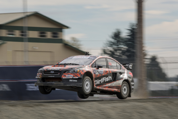 David Higgins launches his DirtFish Subaru STI at GRC Seattle © Fuji Heavy Industries, Ltd.