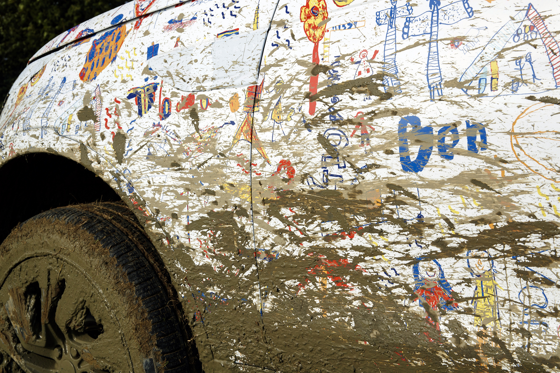 A unique vehicle wrap designed for New Discovery by the children of Land Rover's designers and engineers © Tata Group