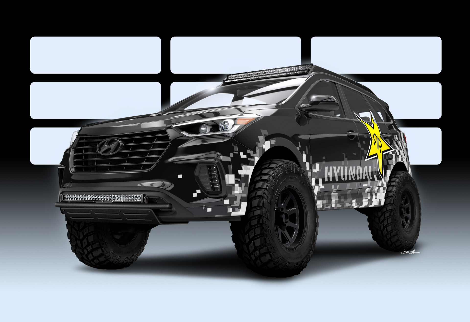 HYUNDAI TEAMS WITH ROCKSTAR PERFORMANCE GARAGE TO CREATE NITROUS-BASED ROCKSTAR SANTA FE CONCEPT OFF-ROADER FOR 2016 SEMA SHOW © Hyundai Motor Company