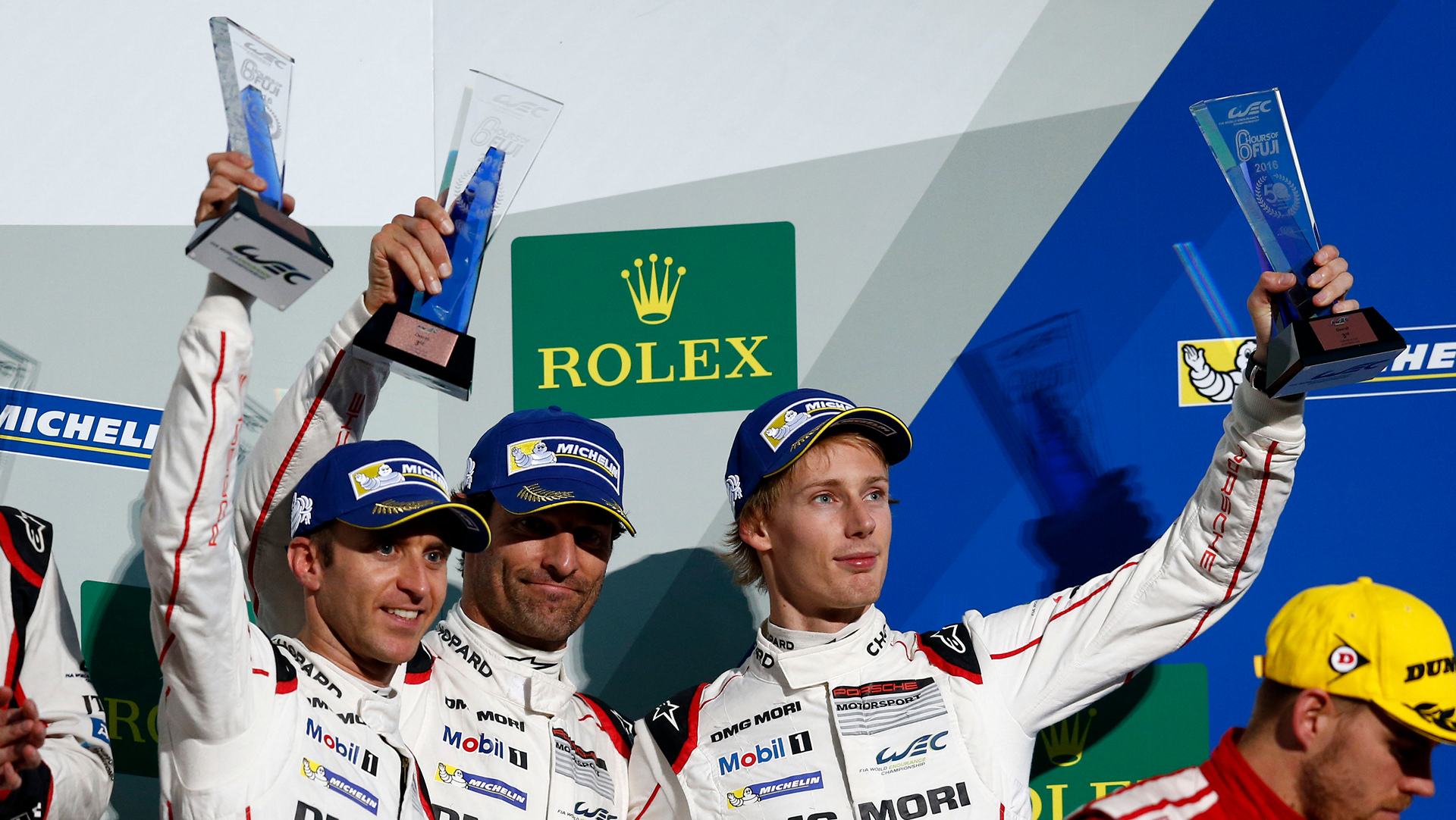 Porsche works driver, l-r: Timo Bernhard, Mark Webber, Brendon Hartley, WEC, Fuji © Dr. Ing. h.c. F. Porsche AG